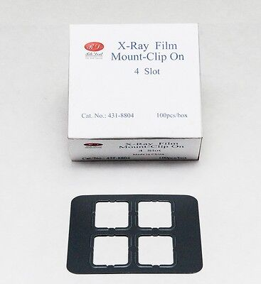 Dental Universal X-ray Film Mount Frames Size 2 - Clip On 4 Slot 100 Pcbox