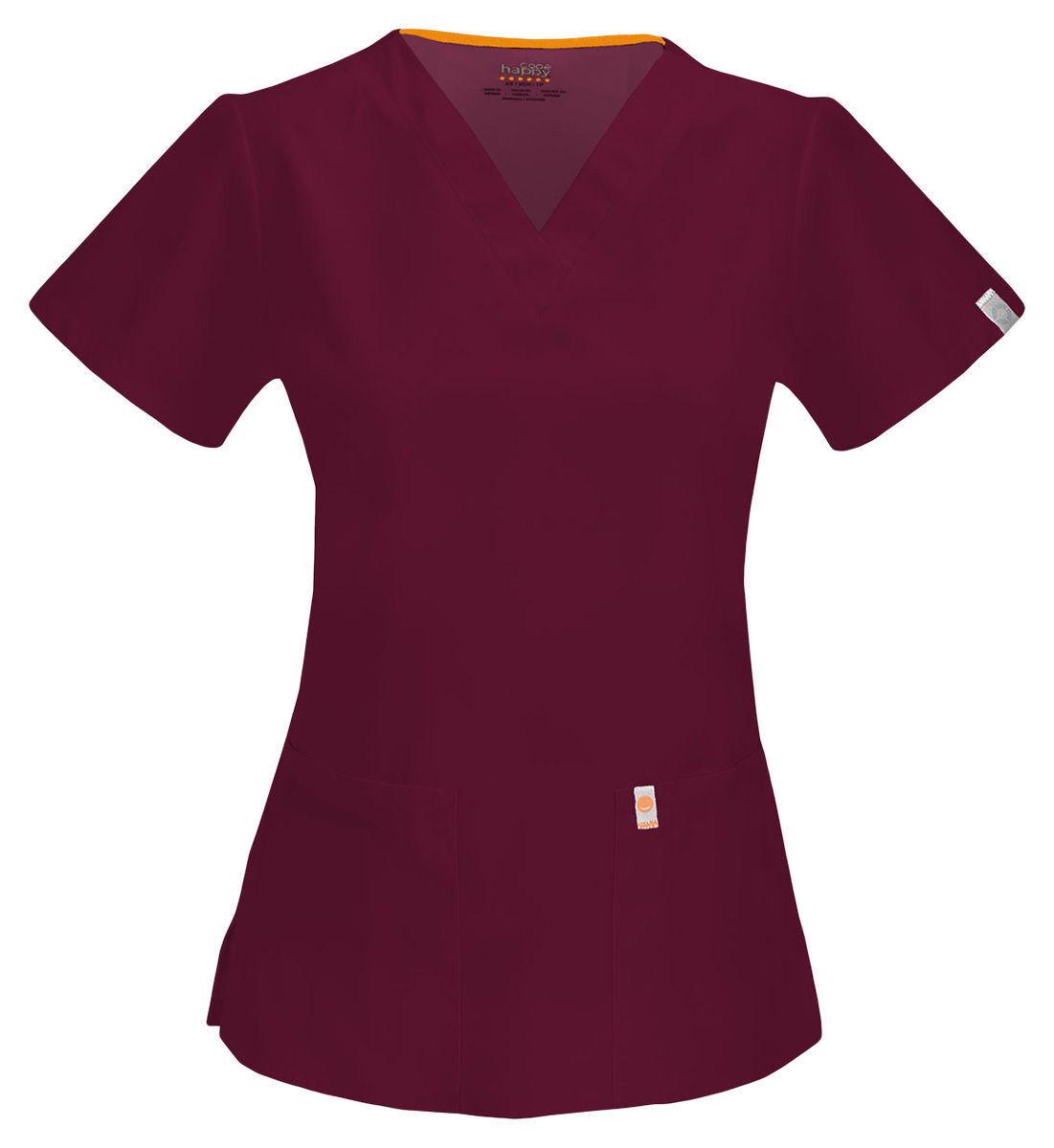 46601A Code Happy Women/'s Short Sleeve Patch Pocket Mock Wrap Nursing Scrub Top