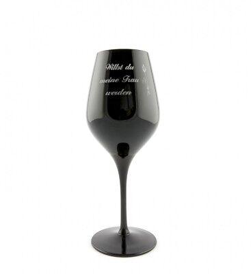Blind Tasting, schwarzes Weinglas mit persönlicher Gravur, Rotwein Weißwein