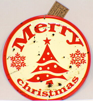 Merry Christmas Vintage Inspired Distressed Round Tree Decor Sign Winter