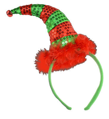 CHRISTMAS ELF SEQUIN RED GREEN HEADBAND FANCY FUNKY XMAS PARTY - Funky Elfen Kostüm