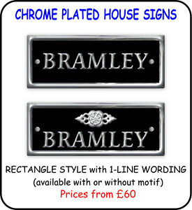 House Name Plate Sign Polished Chrome Plated Brass