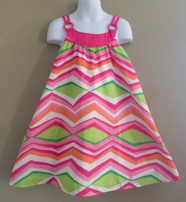Cutie Girls (Girls Sz 6 Gymboree TROPI-CUTIE Neon Pink & Green Chevron Strap Open Back)