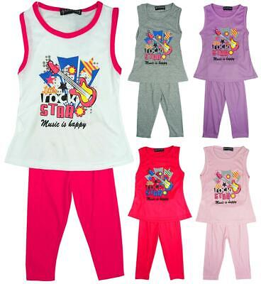 Girls Top Leggings Vest Outfit Rock Star Summer Fashion Set Kids 2 to 8 Years](Rock Star Outfit)