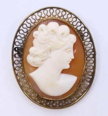 Vintage 1/20 12K Gold Filled Carnelian Shell Right Facing Cameo Brooch Pin