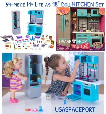 """64-pc 18"""" Doll KITCHEN + Refrigerator Set for My Life as American Girl Boy House"""