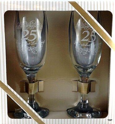 Sektglas-Set Alles Gute Silbernen Hochzeit 25 Jahre oder zum Geburtstag