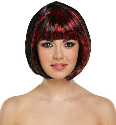 Short Red Wig Halloween (HALLOWEEN LADIES GIRLS BLACK RED SHORT BOB WIG HAIR FANCY DRESS OUTFIT)