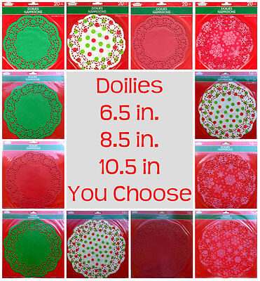 Christmas Colored Paper Lace Doilies Red Green 6.5