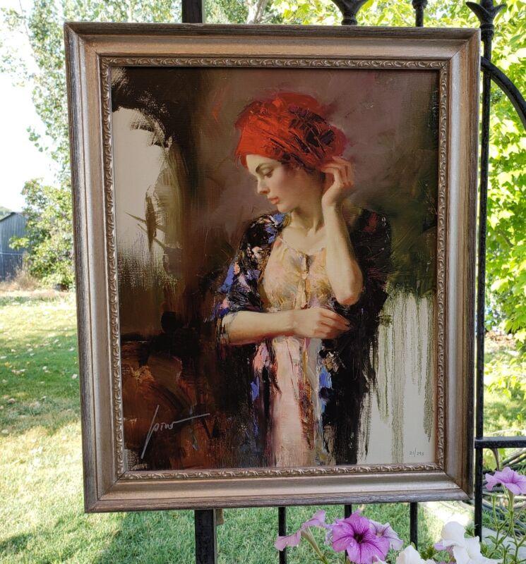 Pino Harmony Art $1450.  21/295 16x20  W/frame Italian Beauty Women Red Turban