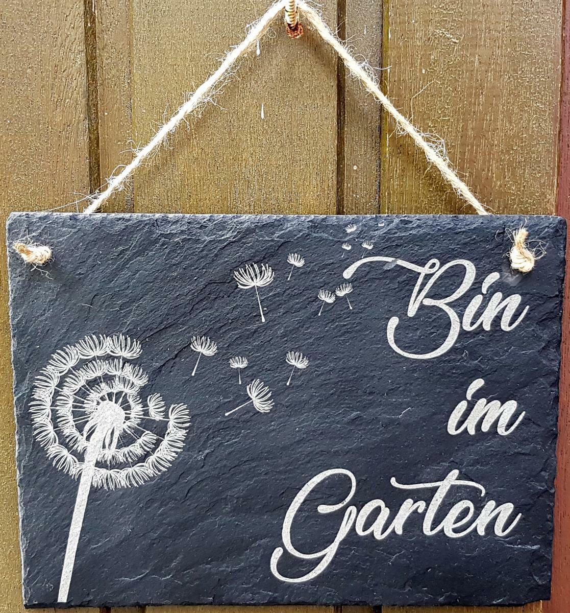 """""""Bin im Garten"""" Schiefer Schild, Massivschiefer Platte, Löwenzahn, Pusteblume"""