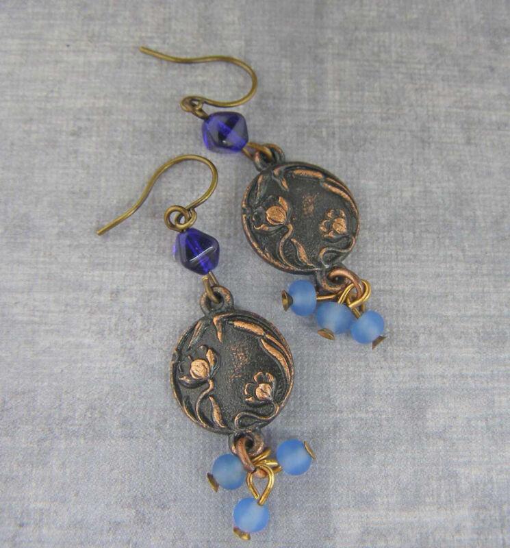 Vintage Style Art Nouveau Poppy Flower Earrings Cobalt Blue Aqua Beads