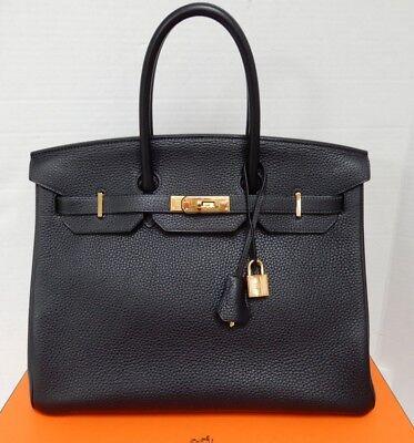 Authentic Hermes Birkin 35Cm Blue Ocean Clemence Leather Bag 2014