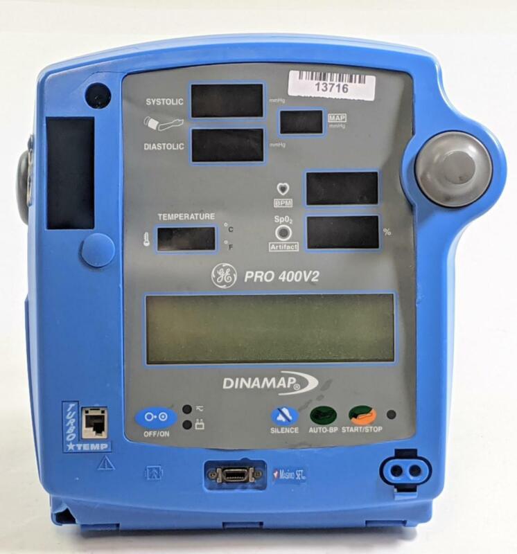 GE Dinamap Pro 400V2 Patient Monitor with Temp, Masimo SpO2, NIBP, and Printer