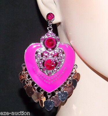 ENAMELED, RHINESTONE FUCHSIA HEART CHANDELIER EARRINGS WHOLESALE PRICE (Heart Chandelier Earrings)