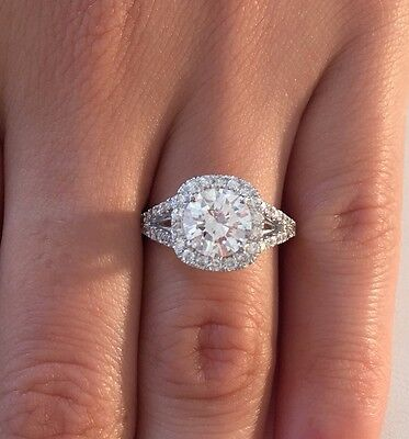 3.50 CT ROUND D/SI1 DIAMOND SOLITAIRE ENGAGEMENT RING 14K WHITE GOLD ENHANCED