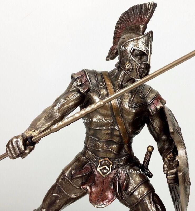 ACHILLES W/ Spear & Shield GREEK MYTHOLOGY Sculpture Statue Bronze Color