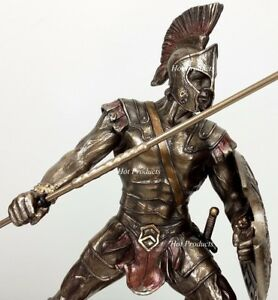 ACHILLES W/ Spear & Shield GREEK MYTHOLOGY Sculpture Statue Bronze Color
