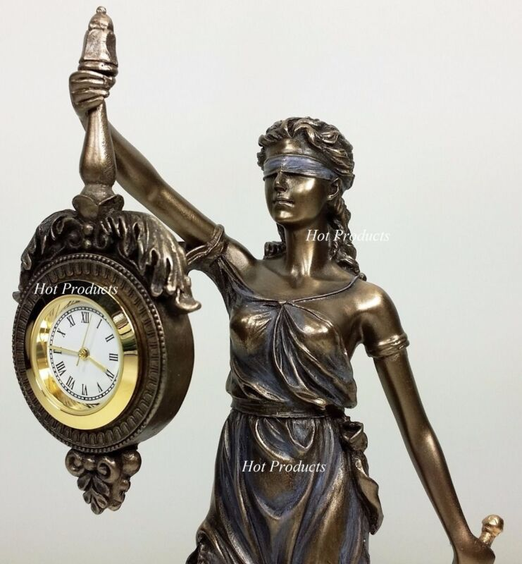 BLIND LADY JUSTICE Desk / Table CLOCK Lawyer Attorney Gift Statue La Justicia