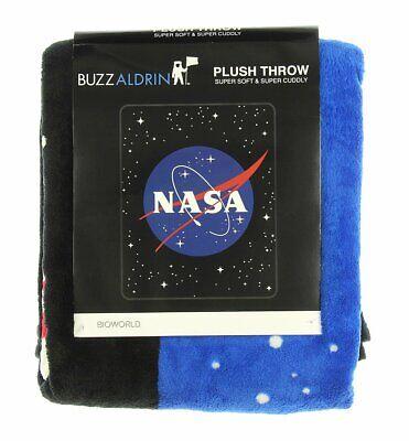 NASA Logo Plush Throw Blanket Bioworld Buzz Aldrin Officially Licensed In Stock Official Throw Blanket