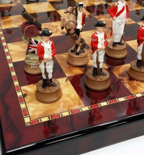 """American Revolutionary Independence War Chess set W/ 18"""" Che"""