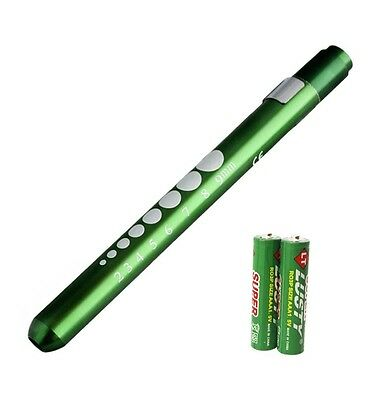 Green Reusable Nurse Aluminum Penlight Pocket Medical Led Pupil Gaugebatteries