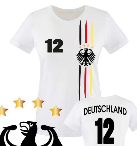 Comedy Shirts - FUSSBALL WM 2014 - WUNSCHNAME u. NUMMER - Damen T-Shirt - Versch