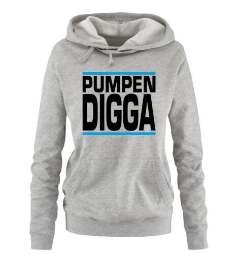 Comedy Shirts – PUMPEN DIGGA – Damen Hoodie | FITNESS BODY NEW