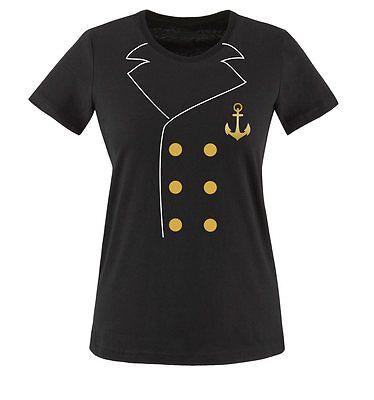 Comedy Shirts - KAPITÄN KOSTÜM - Damen T-Shirt | (Kapitän Kostüm Shirt)