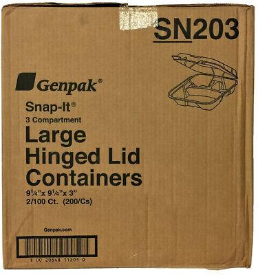 Genpak 3 Compartment Foam Hinged Lid Container 9 14 X 9 14 X 3 200cs