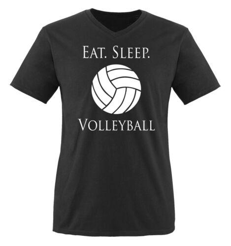 Comedy Shirts - EAT. SLEEP. VOLLEYBALL - Herren V-Neck T-Shirt - Gr. S-XXL Versc