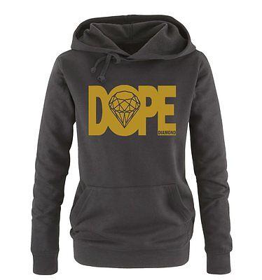 DOPE DIAMOND – Deluxe – Einfarbig – Damen Frauen Hoodie Gr. S – XL Versch. Farbe