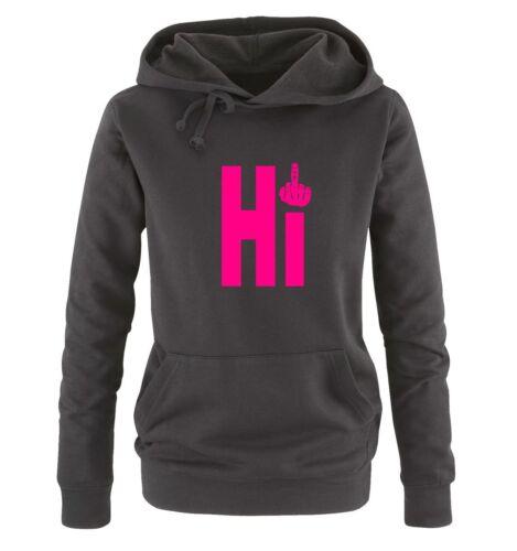 Comedy Shirts – HI FUCK – MITTELFINGER – Damen Hoodie | New