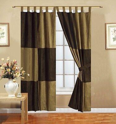 Brown Microsuede Room Darkening Patchwork Tab Top Lined Panel Window Curtain Set