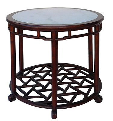 Chinese Oriental Brown Round Marble Stone Top Pedestal Table -