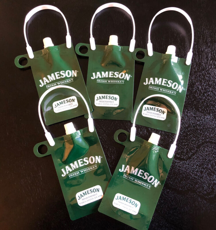 Set Of 5 JAMESON IRISH WHISKEY Tailgating Flask-Plastic