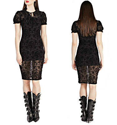 BANNED FLOCK SKULL CAMEO GOTHIC ROSARY SLIP DRESS GOTH EVENING STEAMPUNK LACE Clothing, Shoes & Accessories