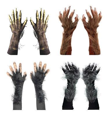 US! Men's Killer Wolf Monster Webbed Sea Gloves Cosplay Brown Grey Silver - Sea Monster Costume