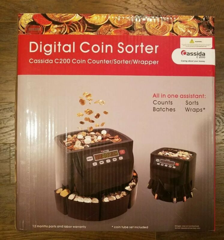 Cassida C200 Digital Coin Counter/ Sorter /Wrapper with Coin tube set included