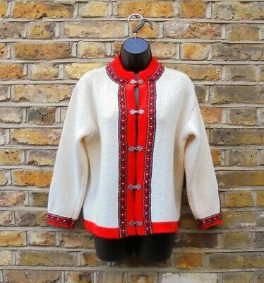 GANN SPORTY Women's Norwegian 100% Wool Red Cream Nordic Cardigan UK 10 Clasp