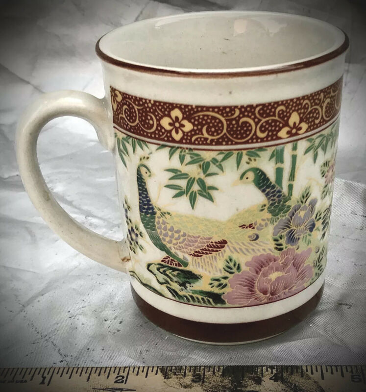 Vintage Japanese Porcelain Peacock Design Coffee Mug With Significant Gold Trim