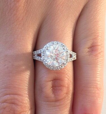 3.00 CT ROUND D/SI1 DIAMOND SOLITAIRE ENGAGEMENT RING ENHANCED 14K WHITE GOLD