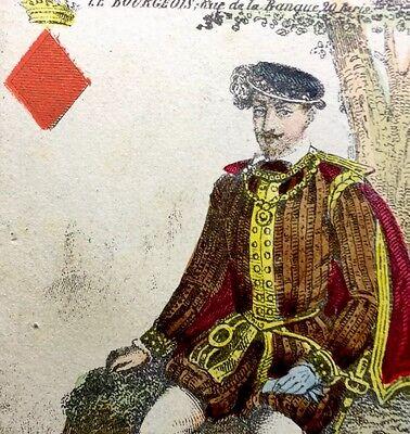c1850 Parisian King Diamonds Coloured Playing Cards Historic Fashion Rare Single