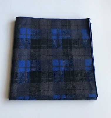 Brown And Blue Plaid Flannel Pocket Square With Blue Trim