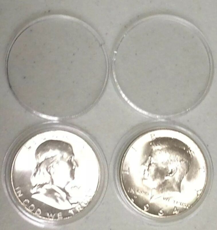 BU1963d & BU1964d Franklin & Kennedy Silver Half Dollars Receive Coins Pictured