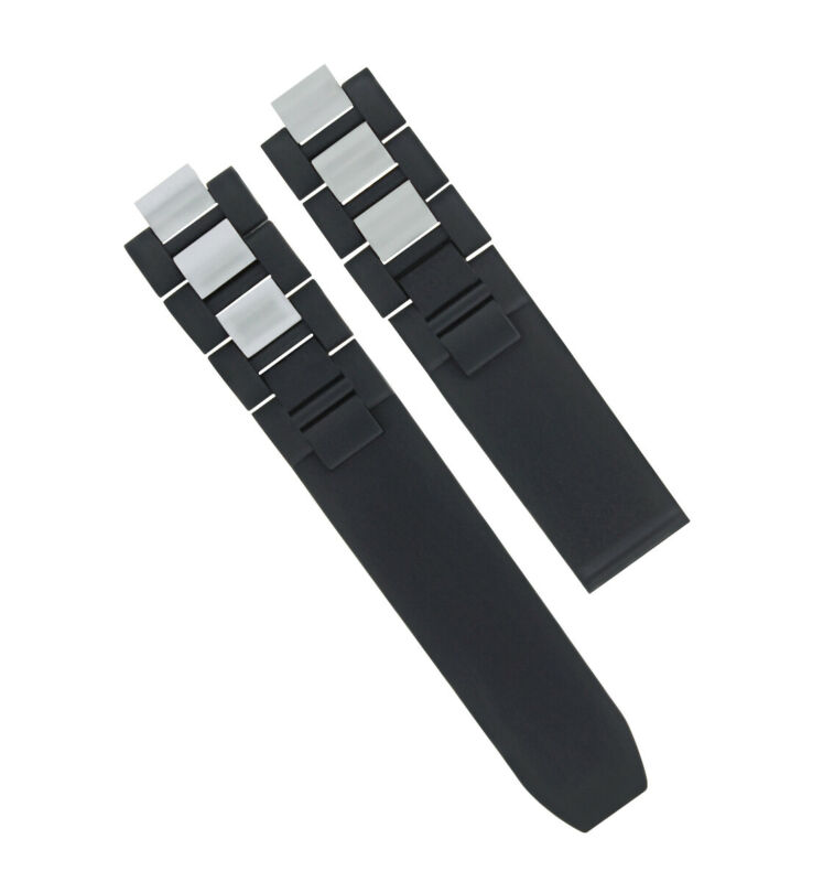 20MM RUBBER SILICONE BAND RUBBER STRAP FOR CARTIER 21 CHRONOSCAPH WATCH BLACK