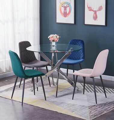 4x Dining Chairs Velvet Padded Seat Metal Legs Kitchen Lounge Chairs Restaurant