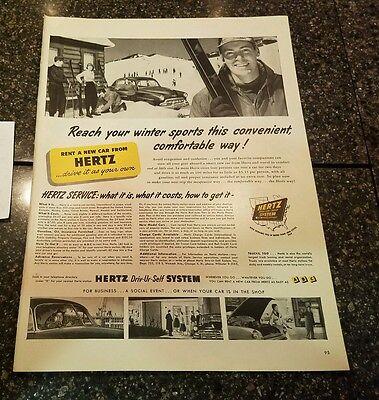 1953 Hertz Rental Car Vintage Magazine Ad  Reach Your Winter Sports