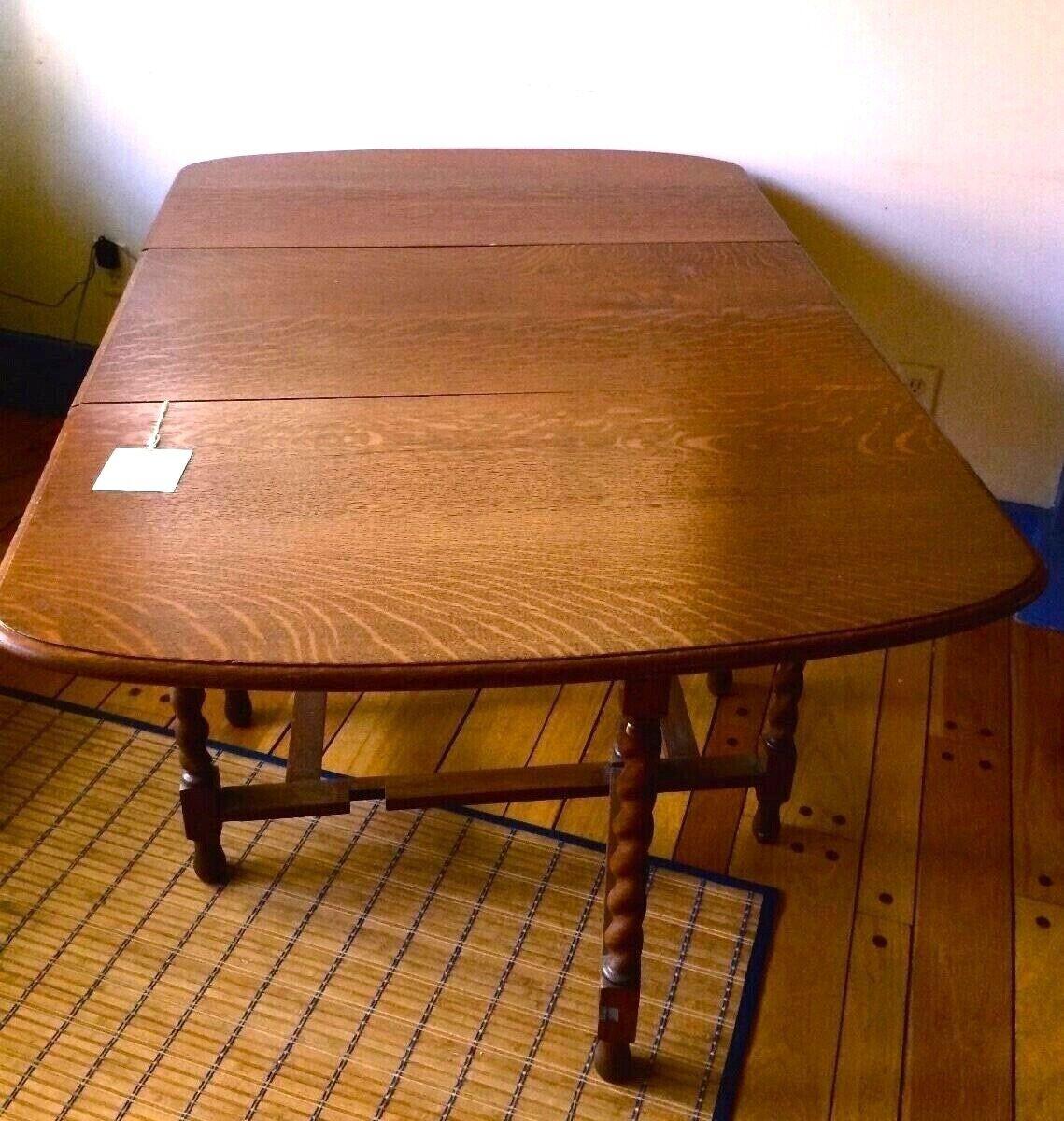 Antique Barley Twist Tiger Oak Drop Leaf Table And Chair - $999.99
