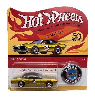 2018 Hot Wheel Originals 1968 Gold Cougar 1/5 50th Anniversary Red Line